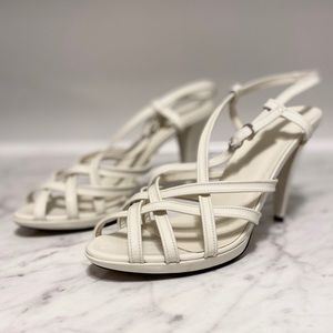 Bally caged patent leather sandals